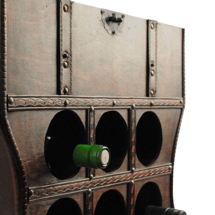 Wein Regal Holz Kiste Metallbeschlag Flaschen Ständer Getränke Schrank rustikal Harms304005 – Bild 4