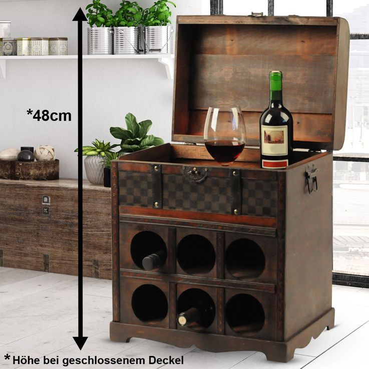 Wine rack in the colonial-style storage box decoration wood treasure chest 6 x bottles Harms 304006 – Bild 2
