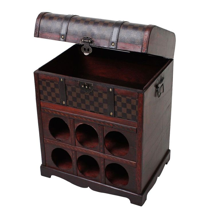 Wine rack in the colonial-style storage box decoration wood treasure chest 6 x bottles Harms 304006 – Bild 5