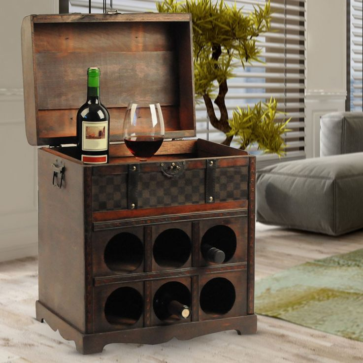 Wine rack in the colonial-style storage box decoration wood treasure chest 6 x bottles Harms 304006 – Bild 3