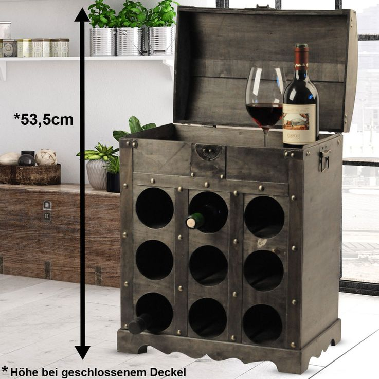 Design wine bottle storage rack wood chest Brown metal fitting colonial style Harms 304004 – Bild 2