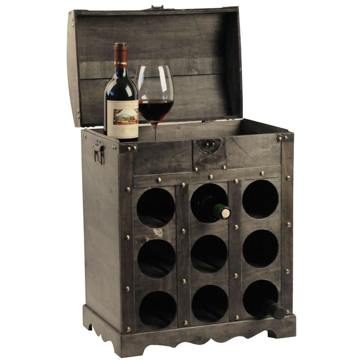 Design wine bottle storage rack wood chest Brown metal fitting colonial style Harms 304004 – Bild 1