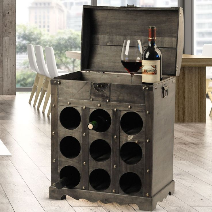 Design wine bottle storage rack wood chest Brown metal fitting colonial style Harms 304004 – Bild 3