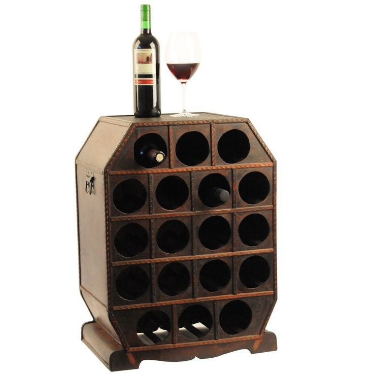 Wine rack in the colonial-style storage box decoration wood Brown metal bottles Harms 304007 – Bild 1