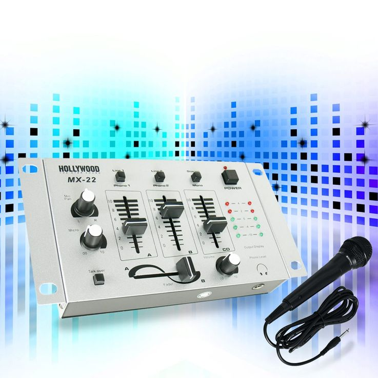 DJ PA party beginners mixer 4 channel mixer crossfader set including microphone – Bild 2