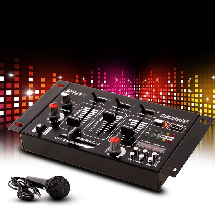 DJ PA stereo mixer USB MP3 party compact mixer 4 channel in the set included microphone – Bild 2