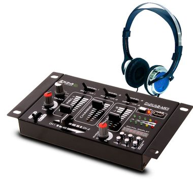 DJ 4-Kanal Mischpult PA Kompakt Effekt Mixer Kopfhörer Party Disco Equipment Audio Sound USB MP3 – Bild 1