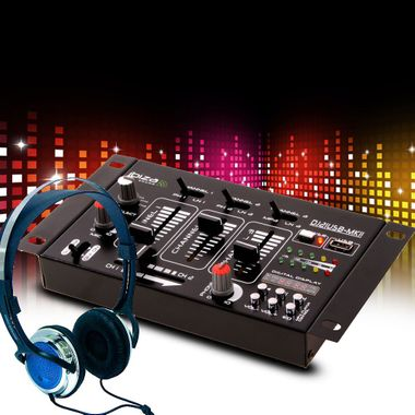 DJ 4-Kanal Mischpult PA Kompakt Effekt Mixer Kopfhörer Party Disco Equipment Audio Sound USB MP3 – Bild 2