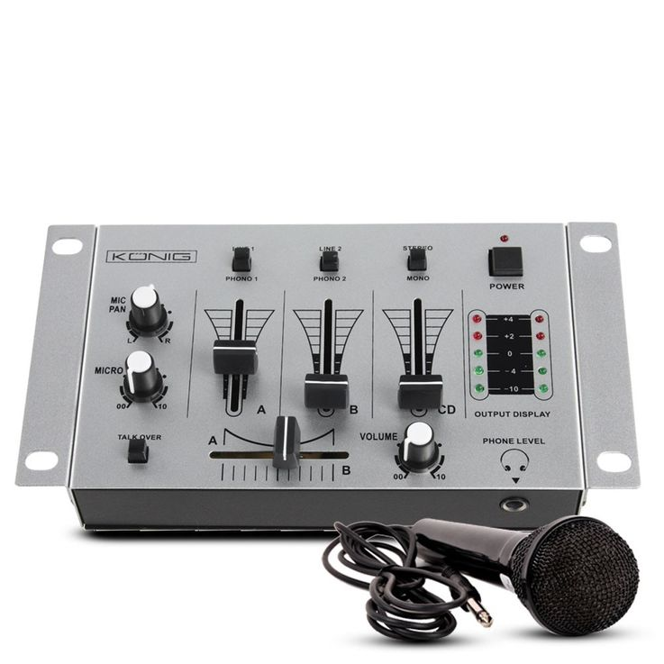 3 channel DJ mixer BASIC dough mixer blender set includes microphone – Bild 1
