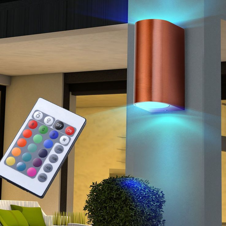 2 set RGB LED wall lamps in aluminium for your outdoor area – Bild 3