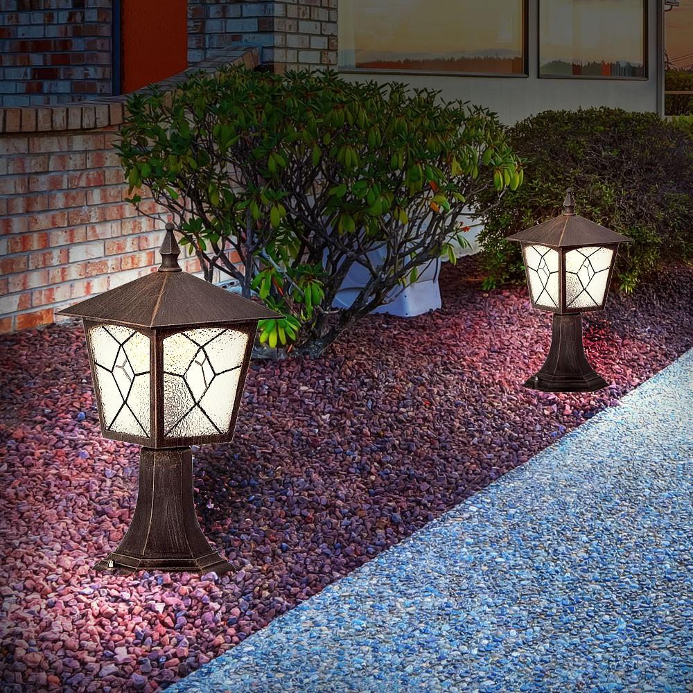 2er set laternen aus alu f r ihren au enbereich unsichtbar lampen m bel au enleuchten stehleuchten. Black Bedroom Furniture Sets. Home Design Ideas