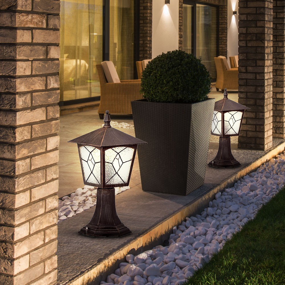 2er set led steh lampen garten balkon beleuchtung au en laternen alu rostfarbig ebay. Black Bedroom Furniture Sets. Home Design Ideas