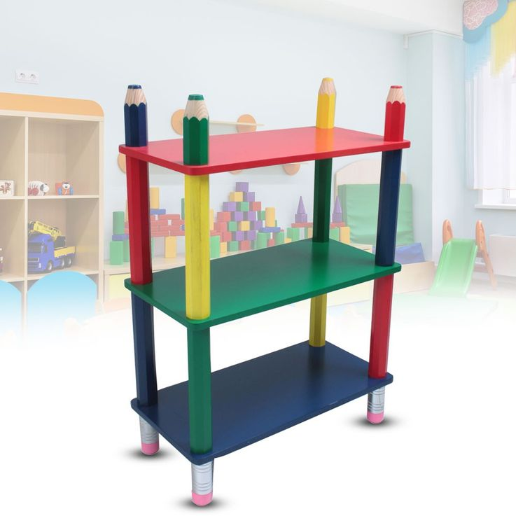 Colorful kids shelf storage wood furniture pencil eraser insert floor Harms 314137 – Bild 2