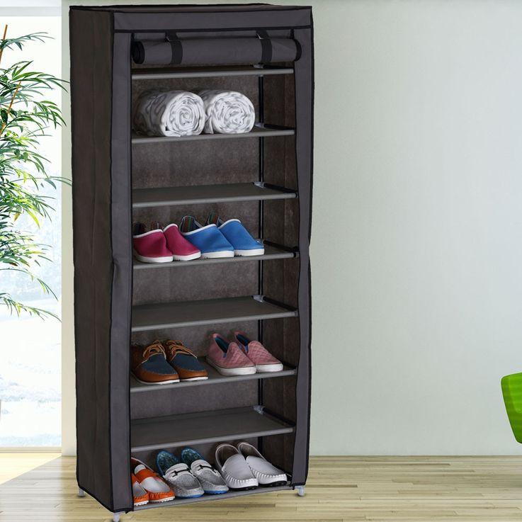 Design Shoe cabinet housing shelves with 8 shelves grey RIMINI – Bild 2