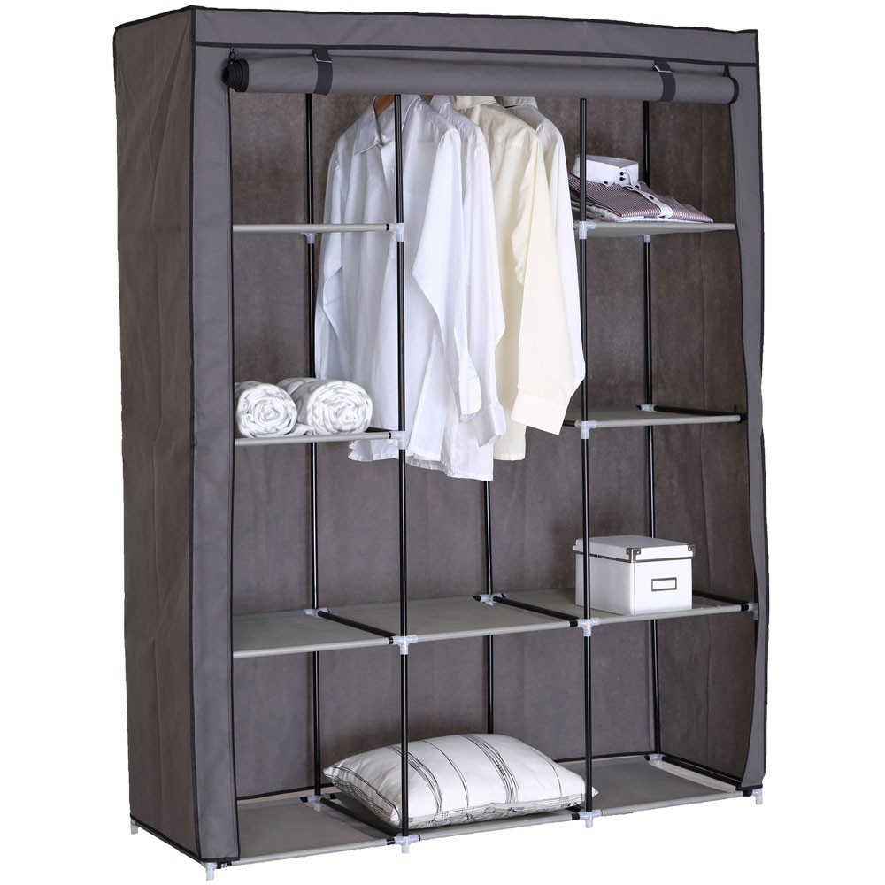 falt schrank kleider garderobe textil camping regal grau f cher rei verschluss ebay. Black Bedroom Furniture Sets. Home Design Ideas