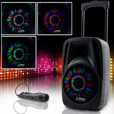 300W Mobile LED Soundanlage Karaoke Bluetooth USB SD Trolley Mikrofon MP3 PARTY-8LED – Bild 2
