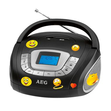 AEG stereo speaker radio boombox USB SD music system AUX in the set including smiley stickers – Bild 1