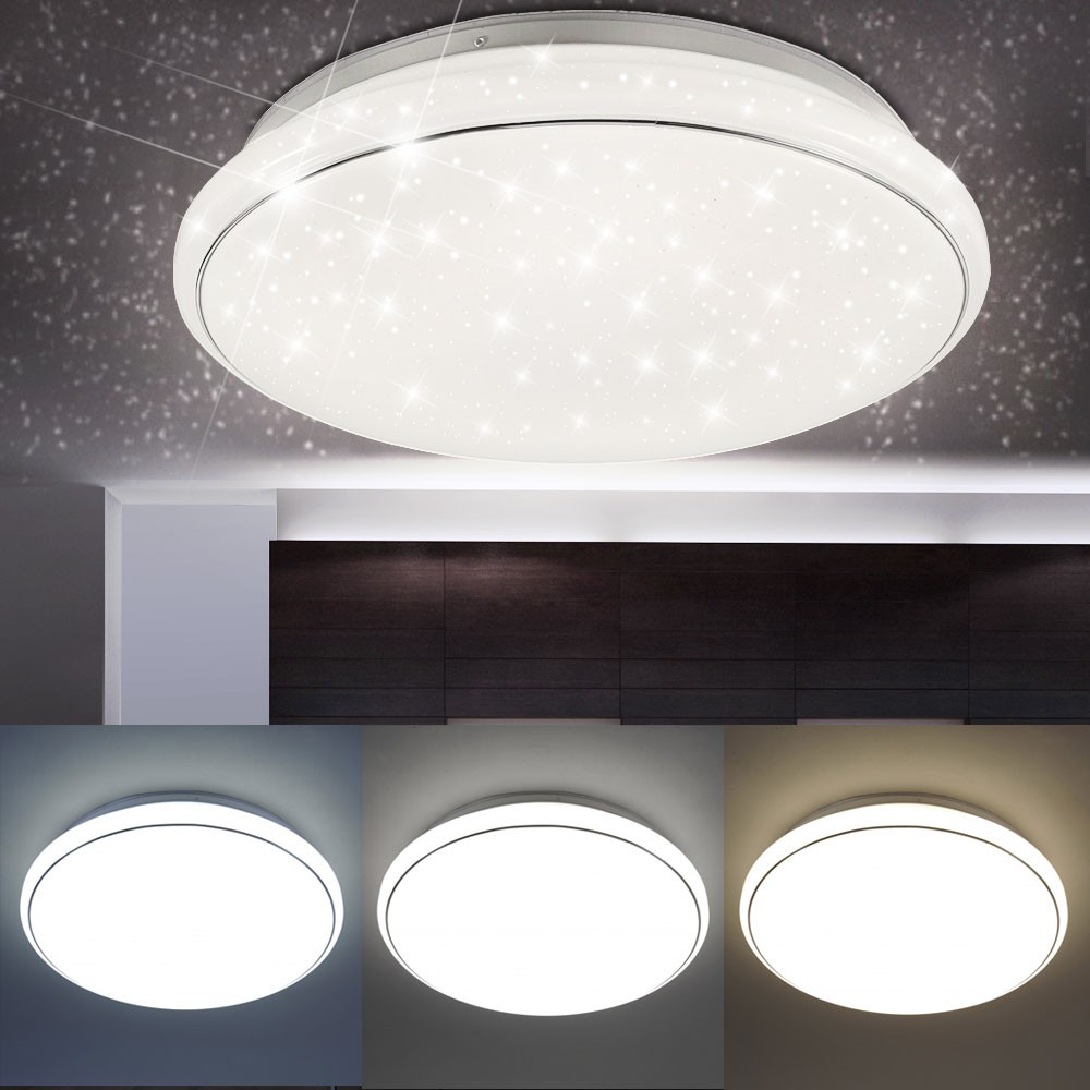 led 32w decken lampe cct dimmbar sternen himmel strahler leuchte rund tageslicht ebay. Black Bedroom Furniture Sets. Home Design Ideas