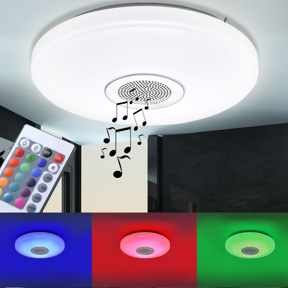 rgb led deckenleuchte dimmbar musiklautsprecher bluetooth lampe fernbedienung ebay. Black Bedroom Furniture Sets. Home Design Ideas