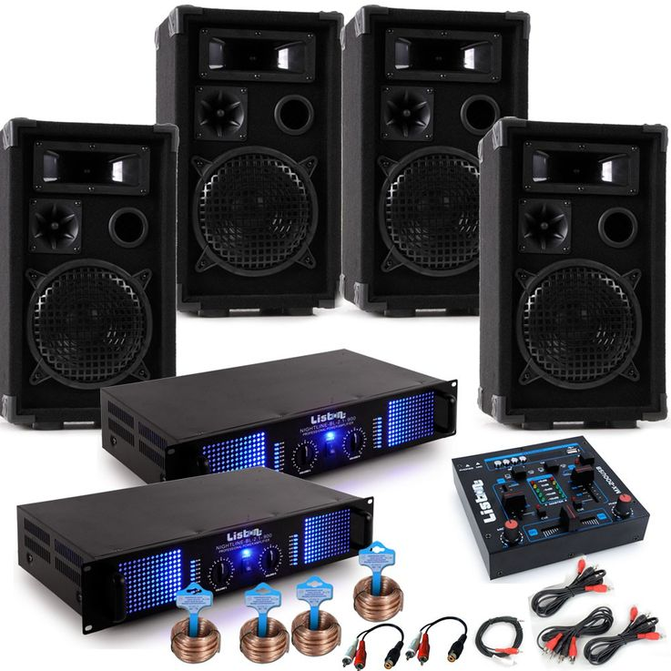 PA system Mardi Gras Carnival car music system 4 x speakers 2 x amplifier USB mixer DJ-Alaaf – Bild 1