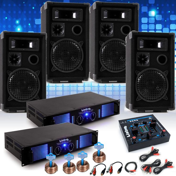 PA system Mardi Gras Carnival car music system 4 x speakers 2 x amplifier USB mixer DJ-Alaaf – Bild 2