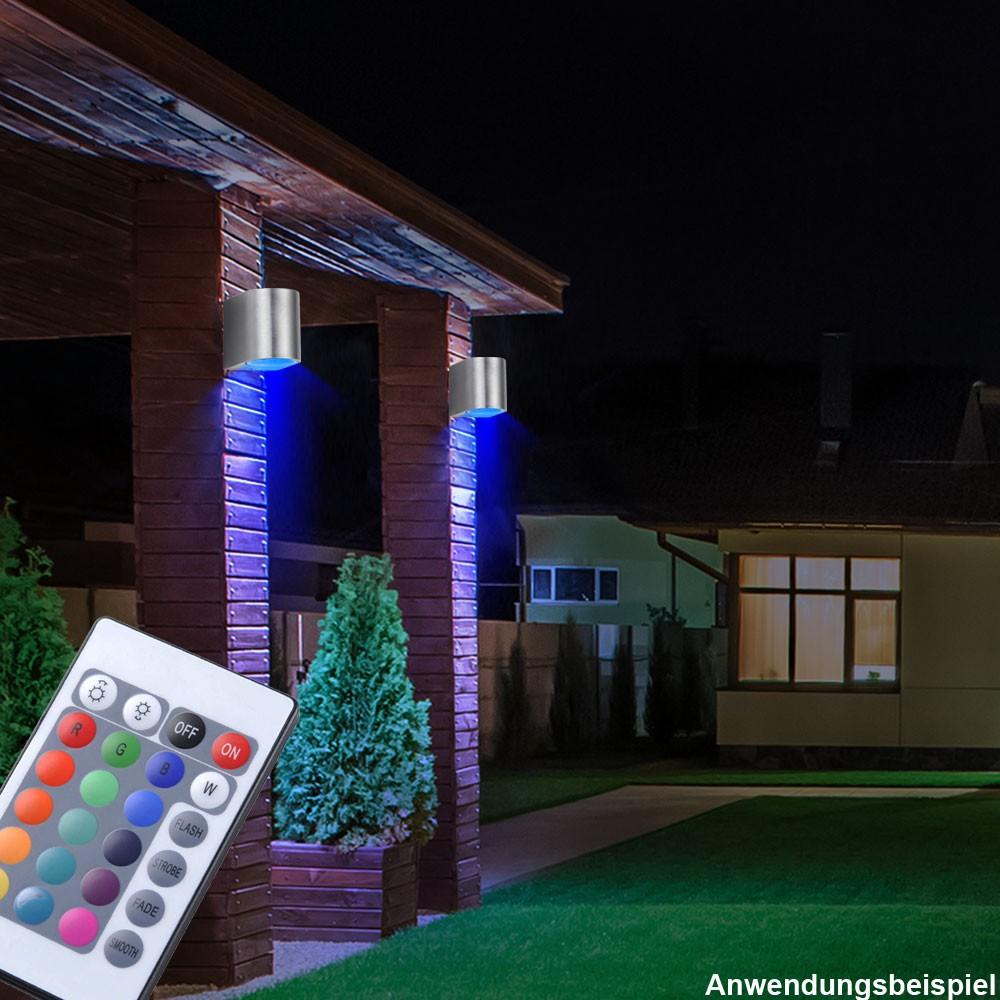 rgb led au en wand lampe terrassen strahler alu spot. Black Bedroom Furniture Sets. Home Design Ideas
