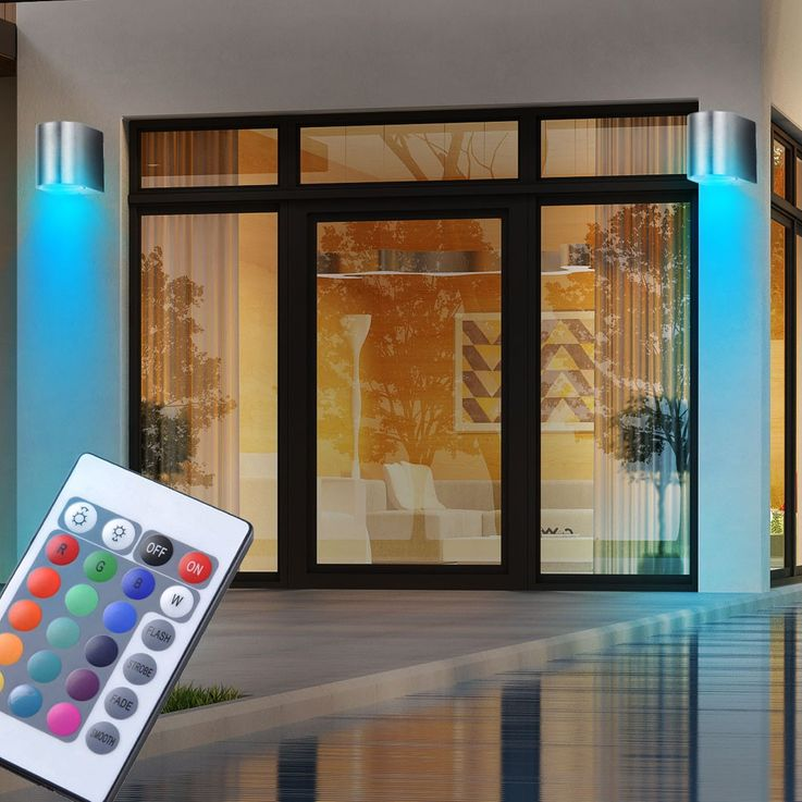 RGB LED Wall lamp for outdoor use with remote control – Bild 4