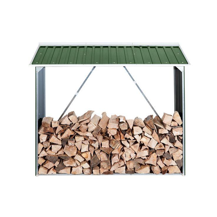 Kamin Regal Outdoor Garten Holz Aufbewahrung Stauraum Stahlblech grün TEPRO 7147 – Bild 3