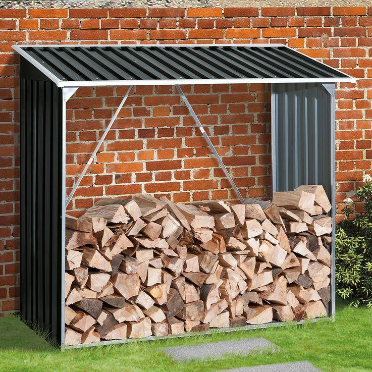Kamin Regal Outdoor Garten Holz Aufbewahrung Stauraum Stahlblech anthrazit TEPRO 7157 – Bild 2
