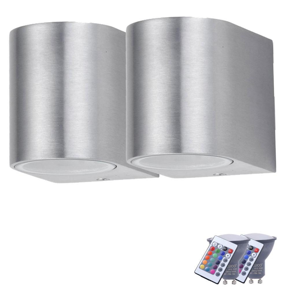 2er set rgb led wandleuchte f r den au enbereich mit dimmer unsichtbar lampen m bel. Black Bedroom Furniture Sets. Home Design Ideas