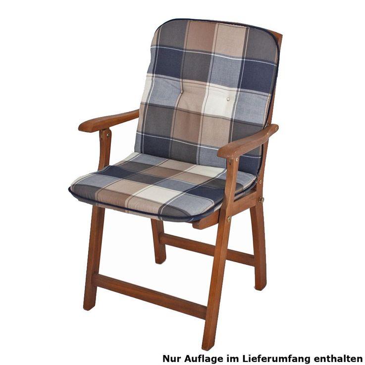 Niederlehner garden Chair pad seat cushion checkered upholstery polyester cotton Harms 910157 – Bild 1