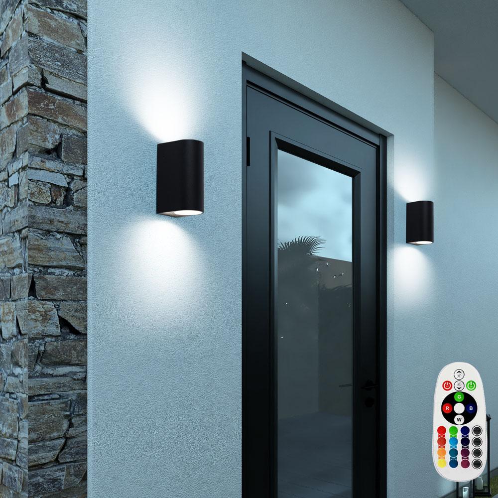 2er set rgb led wandleuchte f r den garten mit fernbedienung unsichtbar lampen m bel. Black Bedroom Furniture Sets. Home Design Ideas