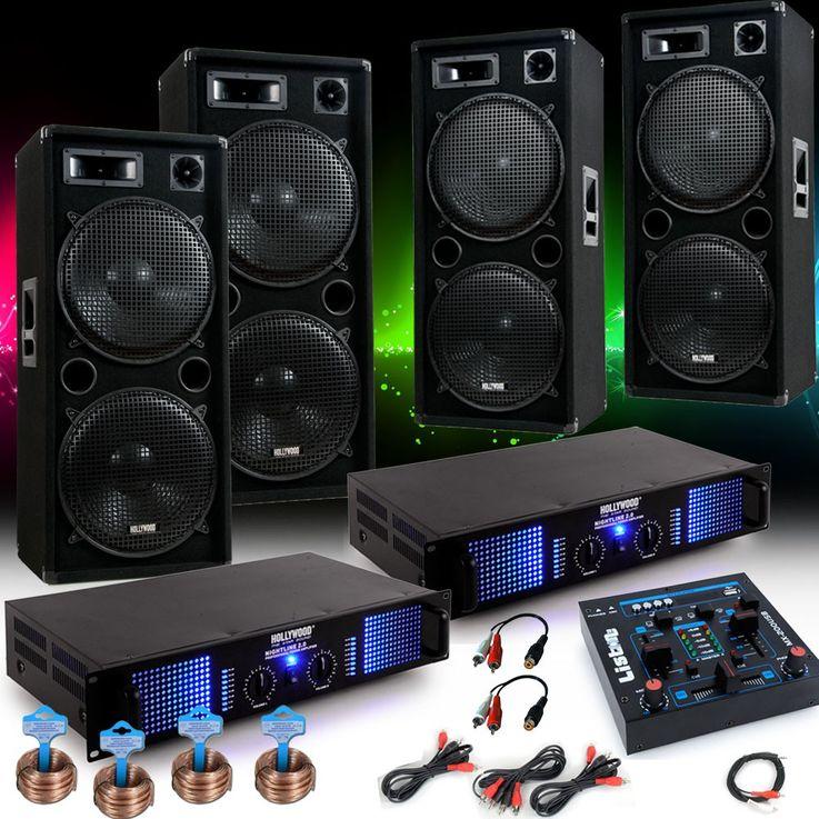 6000W PA Party Fasching Musikanlage 4x Boxen 2x Verstärker USB MP3 Mixer DJ-Fastnacht – Bild 2