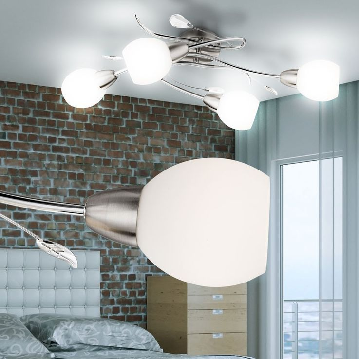 Design LED ceiling light chrome and opal glass LILLY – Bild 4