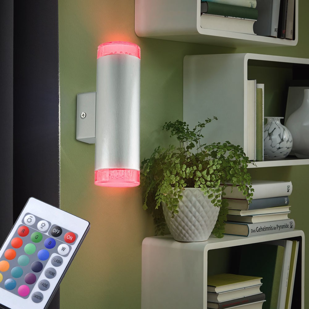2er set rgb led wand lampen kinderzimmer leuchten up down dimmbar fernbedienung ebay. Black Bedroom Furniture Sets. Home Design Ideas