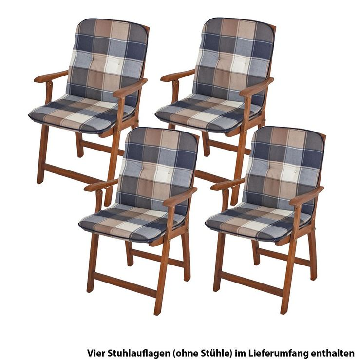 Upholstered Plaid polyester 4er set Niederlehner garden Chair pads seat cushion cotton – Bild 1