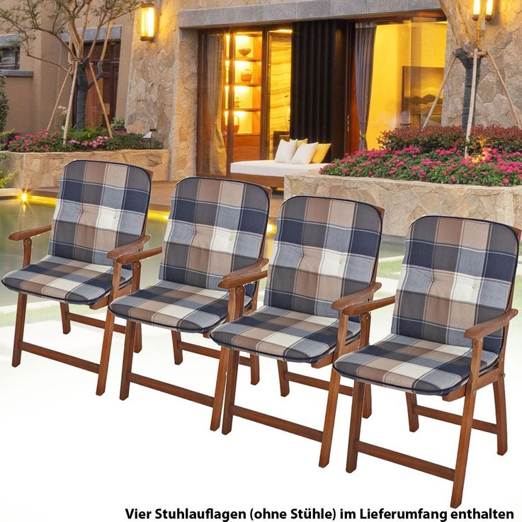 Upholstered Plaid polyester 4er set Niederlehner garden Chair pads seat cushion cotton – Bild 2