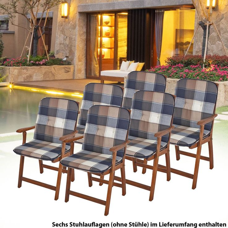 Upholstered Plaid polyester 6 set Niederlehner garden Chair pads seat cushion cotton – Bild 2