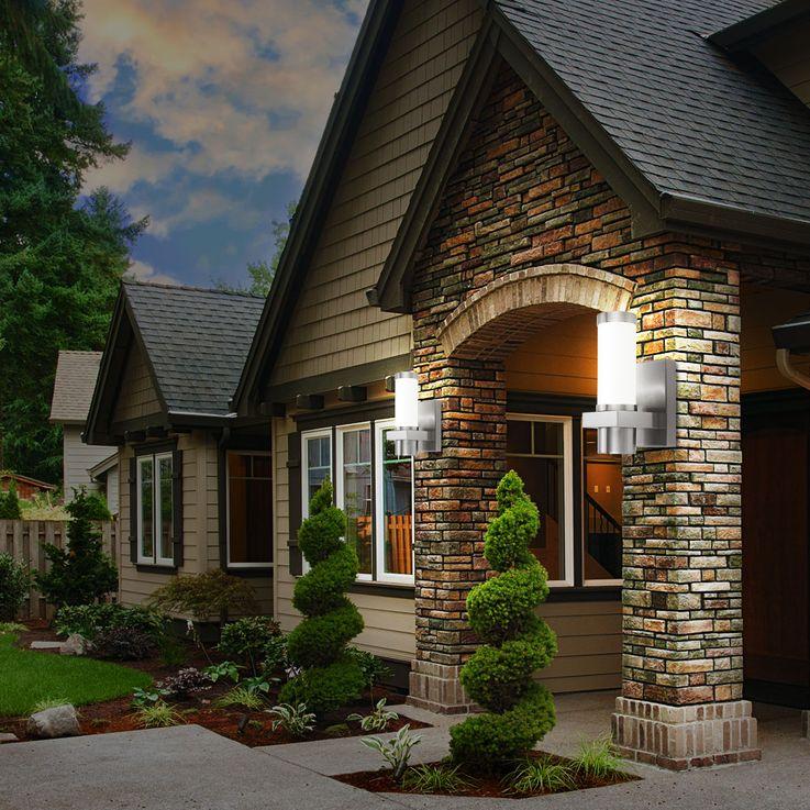 Exterior wall spotlight IP44 weatherproof Design glass Terrace lighting silver matt Starlux 30441 – Bild 8