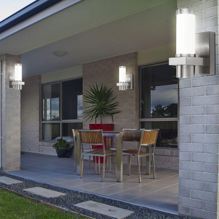 Exterior wall spotlight IP44 weatherproof Design glass Terrace lighting silver matt Starlux 30441 – Bild 6