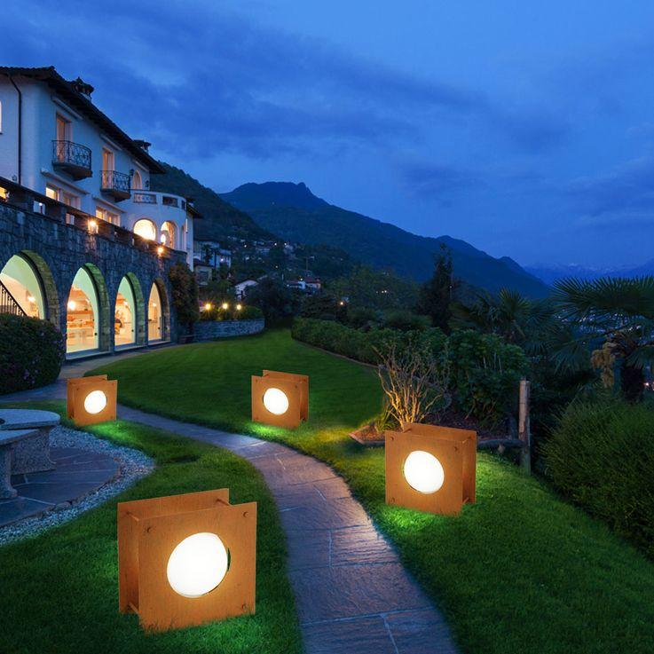 Steh Leuchte Stand Lampe Außen Garten Beleuchtung Antik Braun Glas geätzt Strahler Eglo 91722 – Bild 4