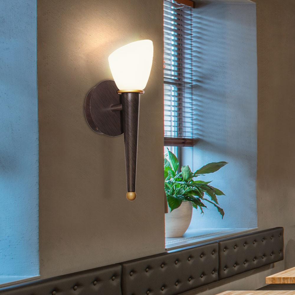 2er set wand fackel leuchten antik stil glas beleuchtung champagner lampen braun 4059157026575. Black Bedroom Furniture Sets. Home Design Ideas