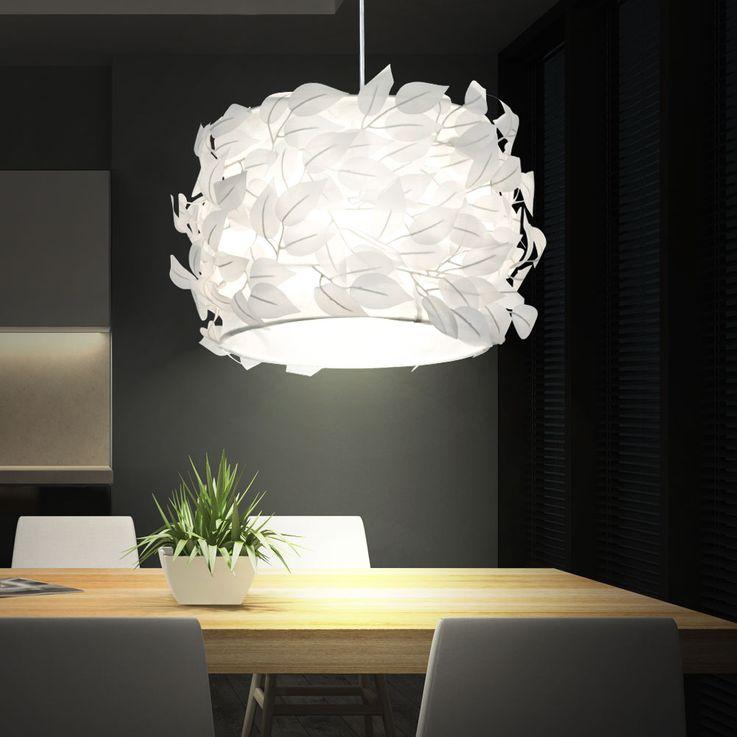 Suspension lustre feuilles blanc textile salle de séjour chambre éclairage luminaire plafond – Bild 2