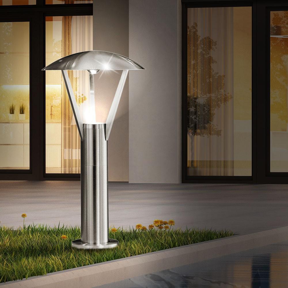 led steh leuchte au enbereich edelstahl laterne garten weg beleuchtung hof lampe. Black Bedroom Furniture Sets. Home Design Ideas