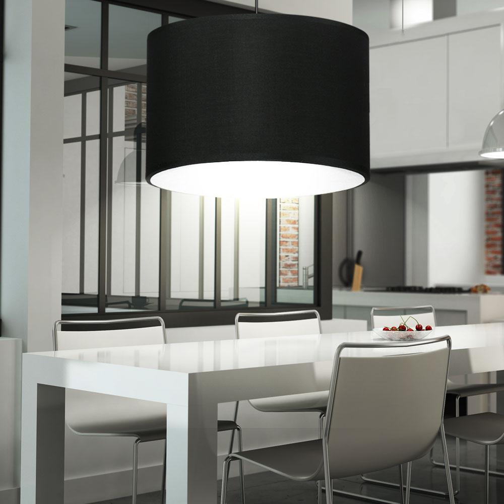 design pendel leuchte wohn zimmer beleuchtung textil h nge lampe schwarz wei ebay. Black Bedroom Furniture Sets. Home Design Ideas