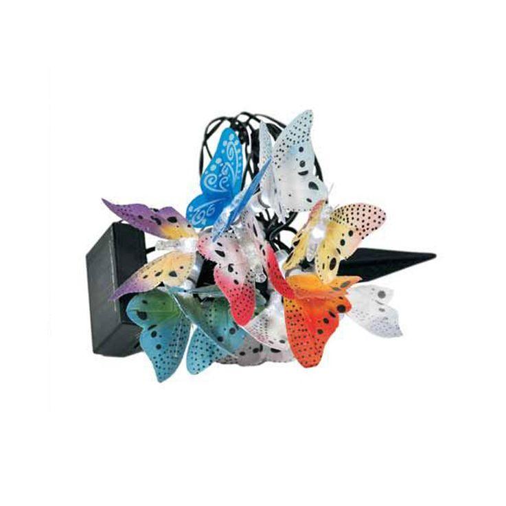 LED Solar Lichter Kette Beleuchtung Außen Leuchte Schmetterlinge bunt Dekoration Harms 504035 – Bild 1