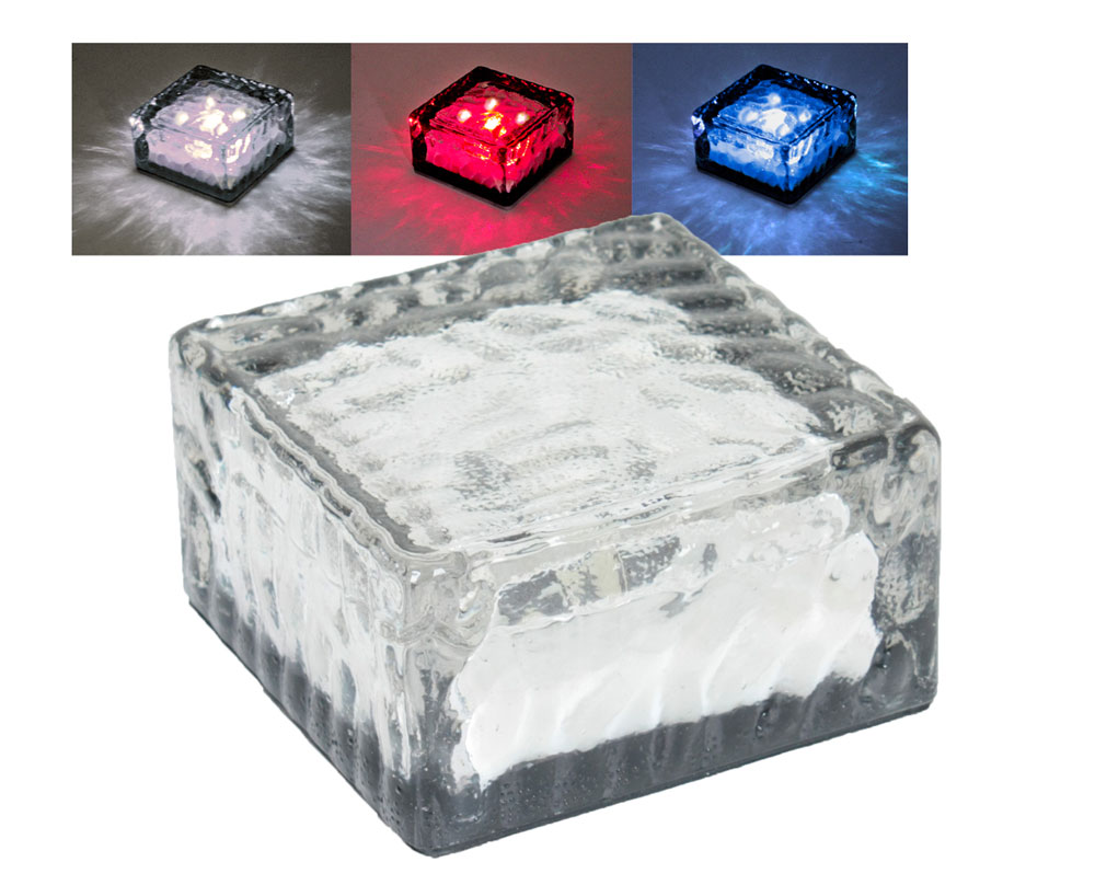 3er Set LED Solarleuchten rot weiss blau in Eiswürfelform
