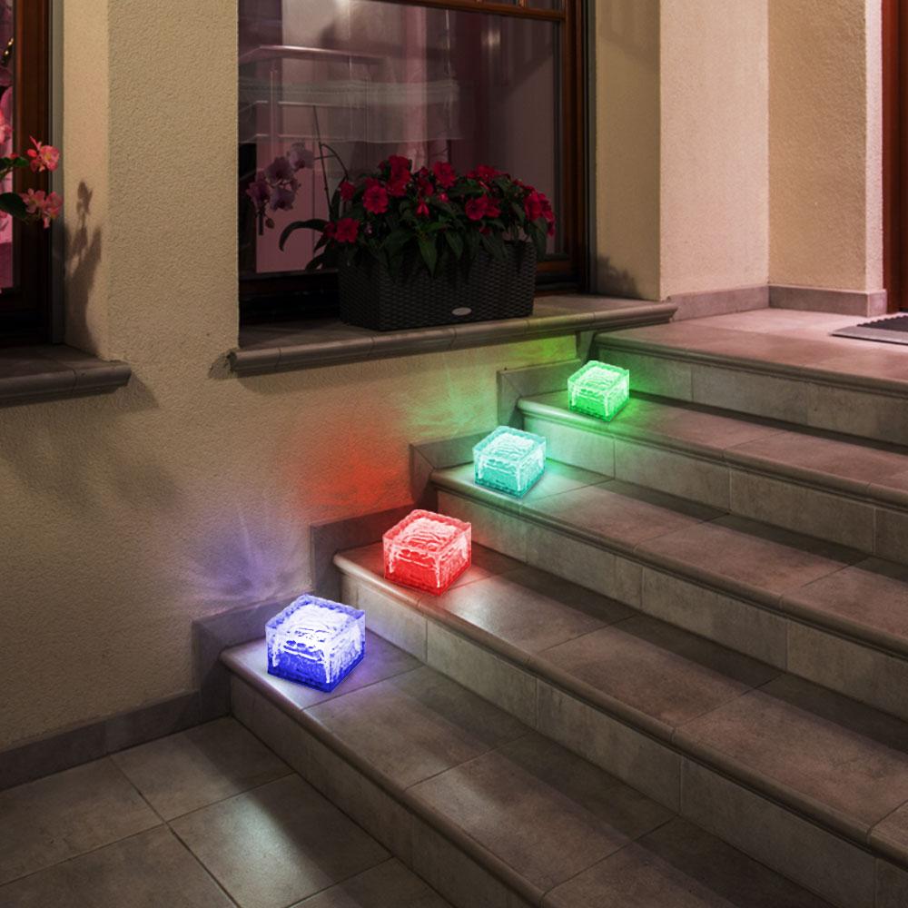 4 x solar rgb led würfel boden-lampen garten strahler glas stein weg