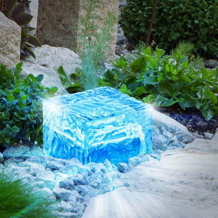 4er Set RGB LED Solar Leuchten Steh Lampen Außen Bereich Glas Stein Würfel Dekoration HARMS 504082 – Bild 3
