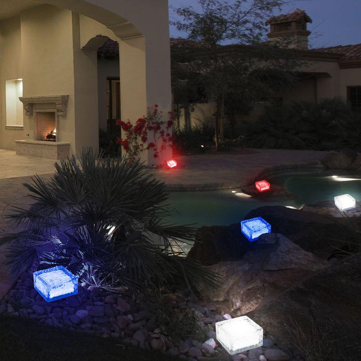 4er Set RGB LED Solar Leuchten Steh Lampen Außen Bereich Glas Stein Würfel Dekoration HARMS 504082 – Bild 6